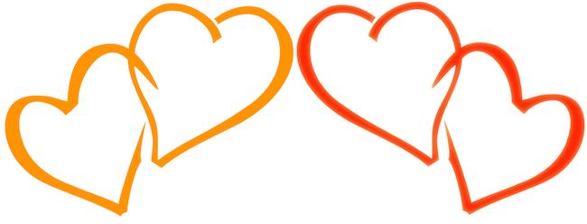 Twee swingers paren uitgebeeld als vier harten